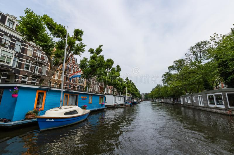 Amesterdam, Holland – 2019. Boat trip on the Amstel river in Amsterdam.  stock photos