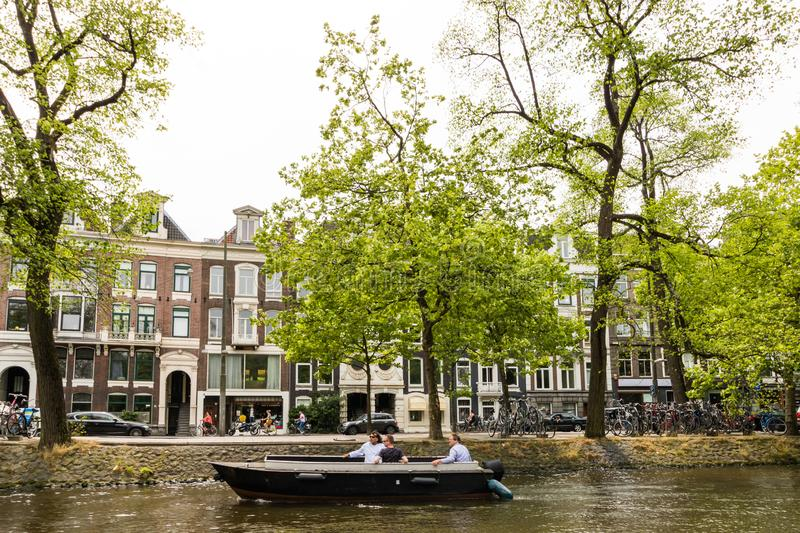 Amesterdam, Holland – 2019. Boat trip on the Amstel river in Amsterdam.  royalty free stock photo