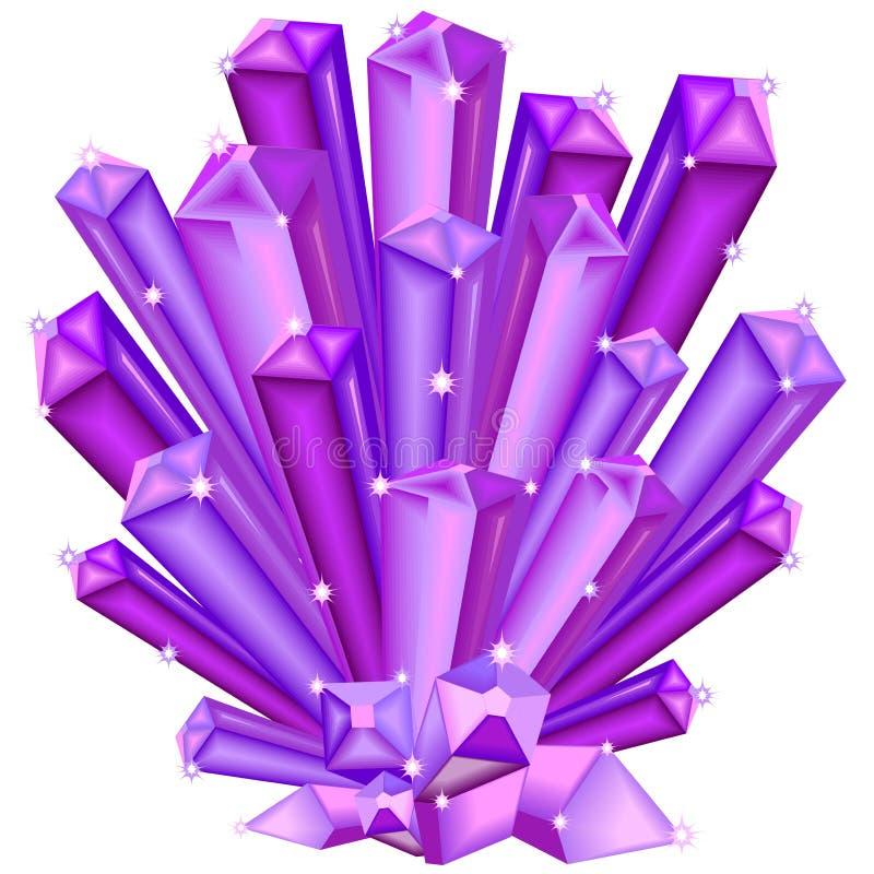 Amethist Crystal Faceted Purple Gem op wit wordt geïsoleerd dat vector illustratie