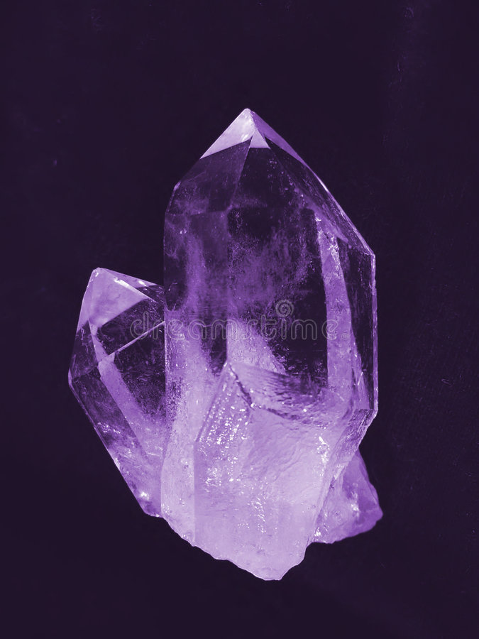 Amethyst. Beatiful crystal look like amethyst on black royalty free stock images