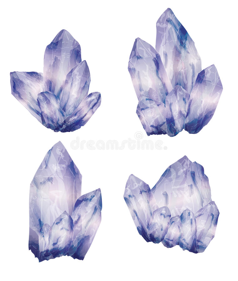 Amethyst Crystal Clusters royalty free illustration