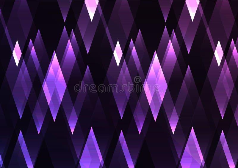Amethyst fractal crystal shine abstract dark background stock illustration