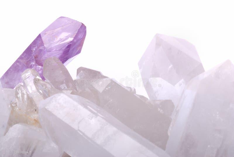 Amethyst energized on quartz stock images