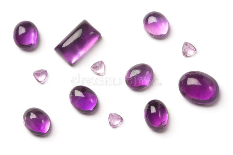 Amethyst gems stock photos