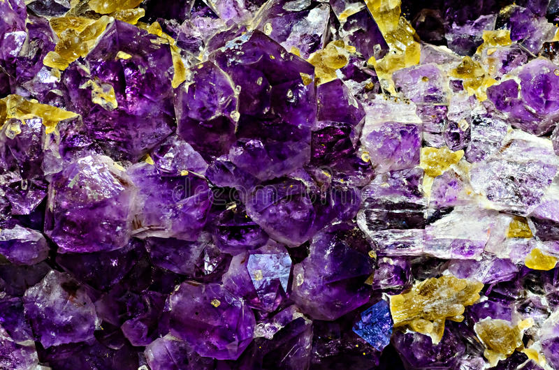 Amethyst. Natural amethysts in the Vernadsky State Geological Museum in Moscow royalty free stock photos