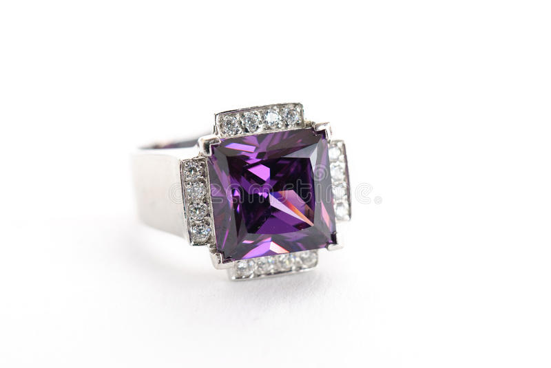 Amethyst ring in silver stock photo