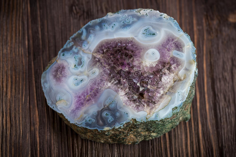 Amethyst with smoky agate royalty free stock image