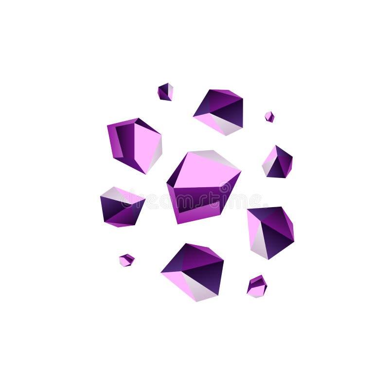 Amethyst stone crystal quartz mineral. Violet variety of quartz crystal cluster vector illustration stock illustration