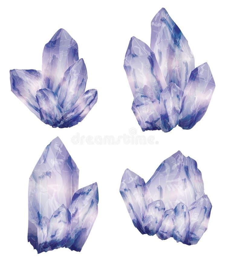Ametist Crystal Clusters royaltyfri illustrationer