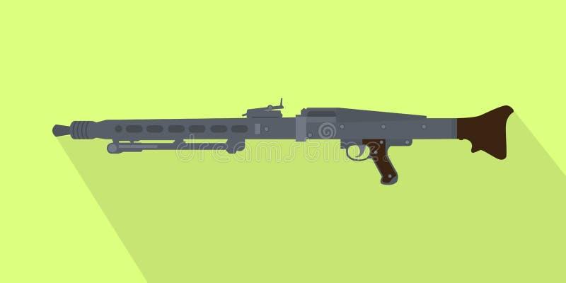 Ametralladora automática popular icónica alemana con la sombra larga stock de ilustración