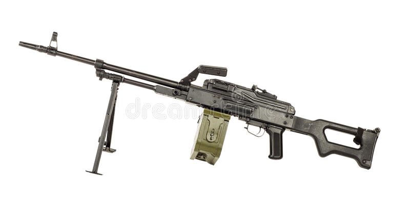 Ametralladora de PKM en un fondo blanco arma rusa foto de archivo