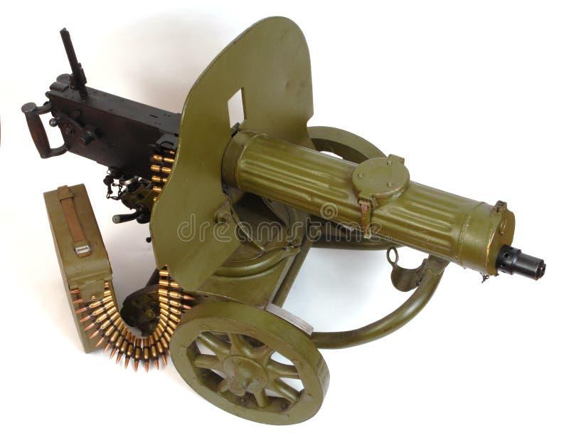 Ametralladora M1910 con la correa de la munición.