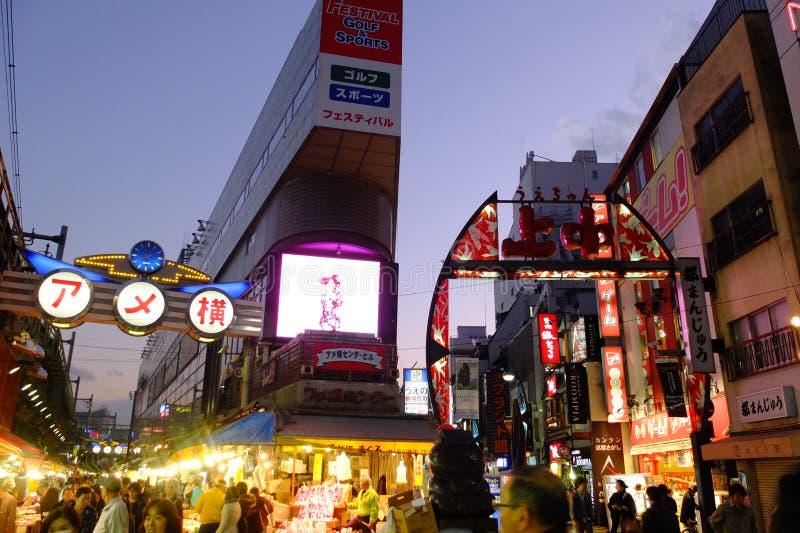 Ameyoko тротуар в токио стоковое изображение