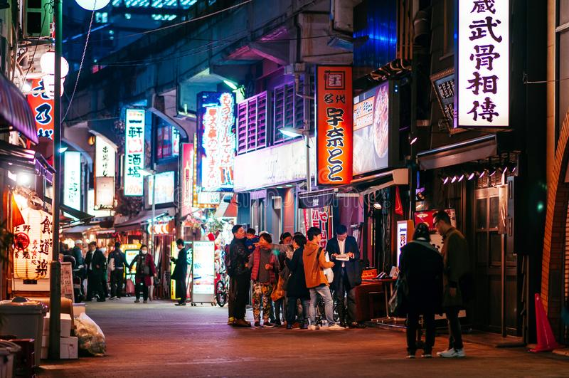 Ameyoko food street night life in Ueno district with tourists and Japanese people - Tokyo stock photo