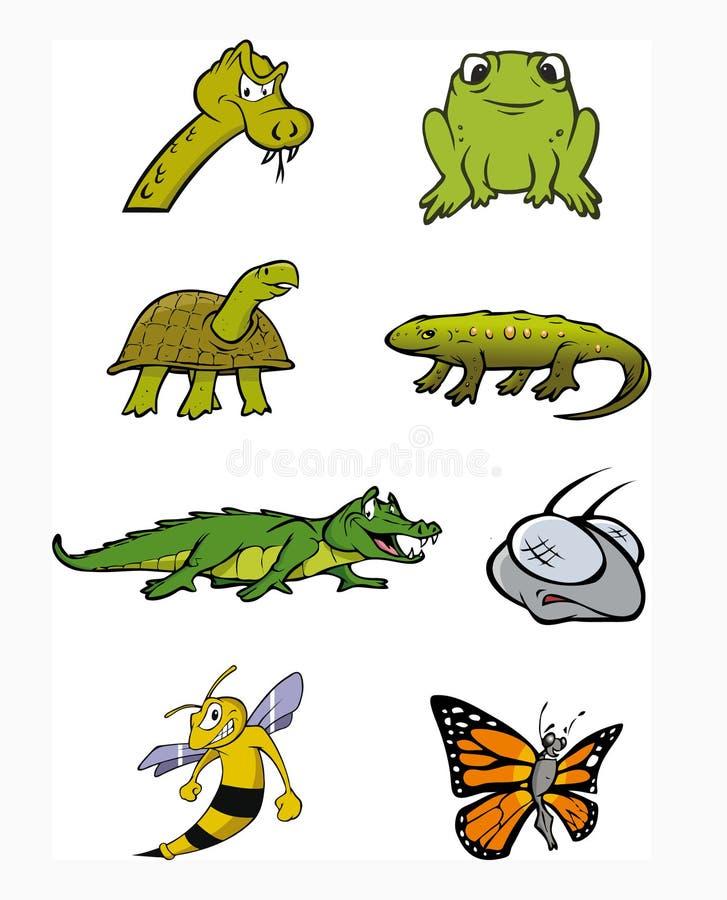 amfibiesamlingsreptilar vektor illustrationer
