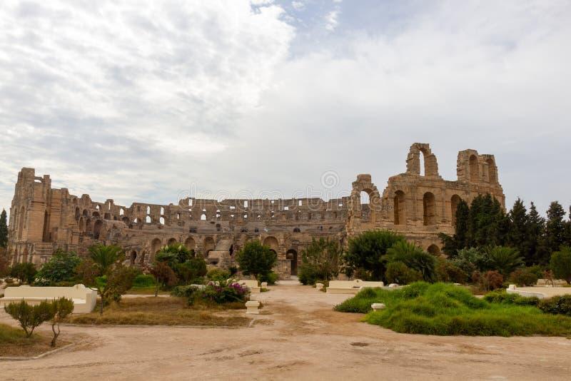 Amfiteater av El Jem i Tunisien arkivfoto