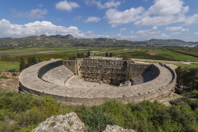 Amfiteater i Aspendos, Turkiet arkivbild
