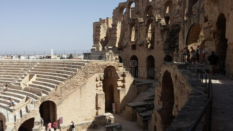 Amfiteater od El Djem, Tunis arkivbild