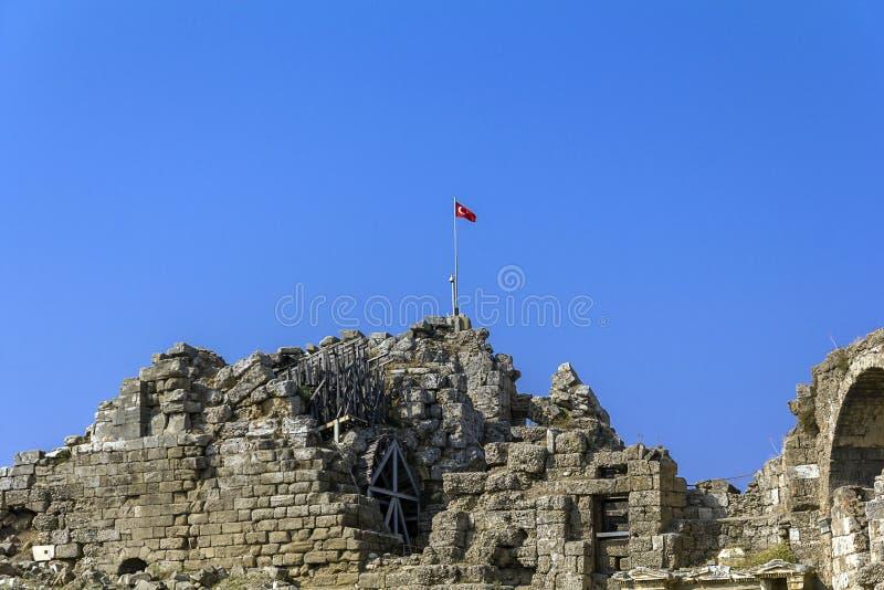 Amfiteater sida, Turkiet royaltyfria bilder