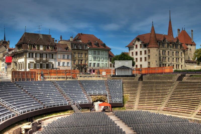amfiteateravenches roman switzerland arkivbild