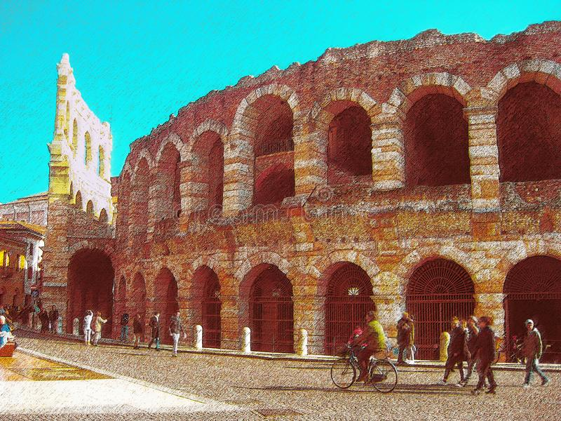 Amfiteatern i Verona på solig dag royaltyfri illustrationer