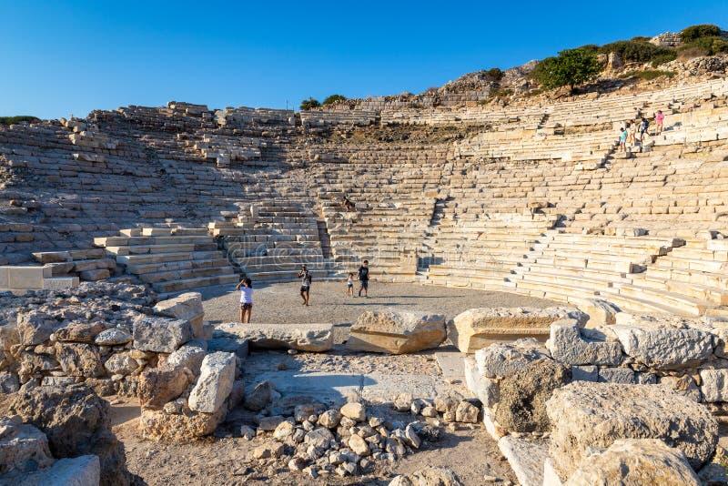 Amfiteatersikt av Knidos, Datca arkivfoto