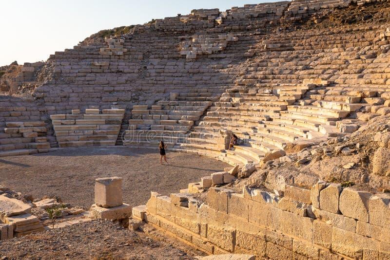 Amfiteatersikt av Knidos Knidos eller Cnidus var en gammalgrekiskastad av Caria fotografering för bildbyråer