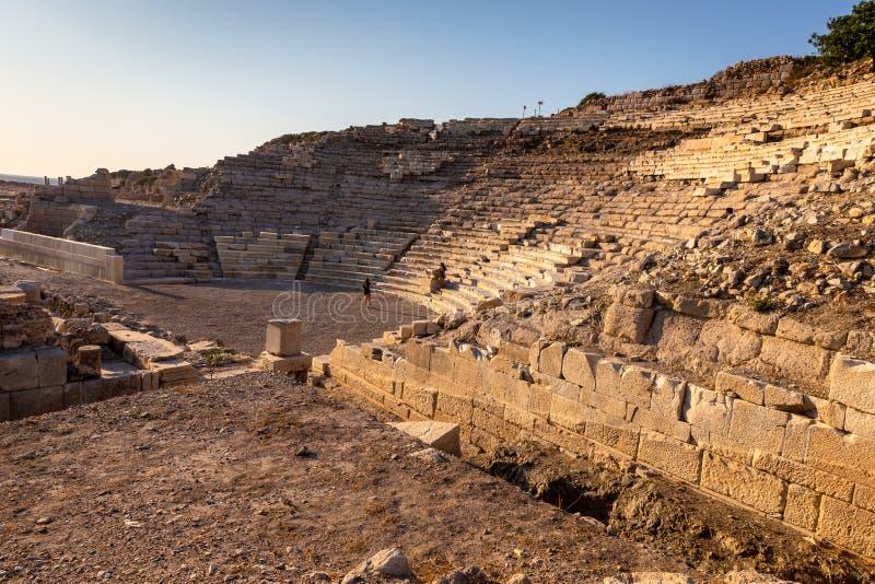 Amfiteatersikt av Knidos Knidos eller Cnidus var en gammalgrekiskastad av Caria royaltyfri fotografi