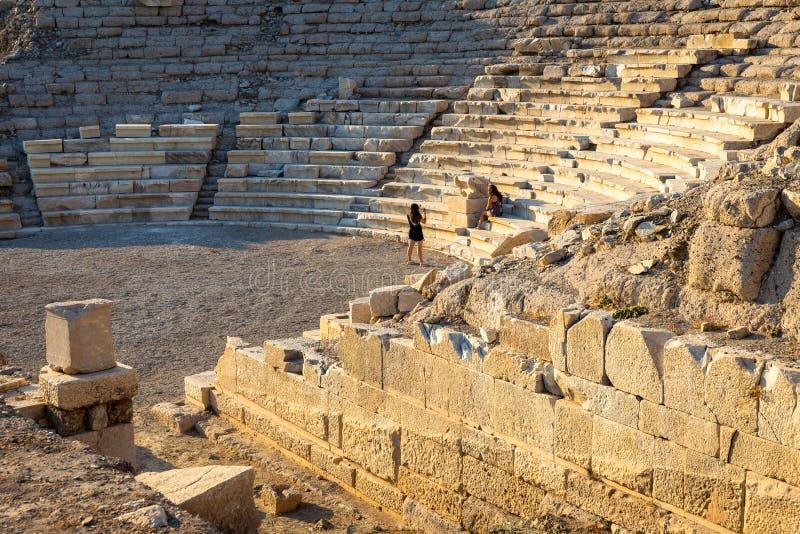 Amfiteatersikt av Knidos Knidos eller Cnidus var en gammalgrekiskastad av Caria royaltyfria foton