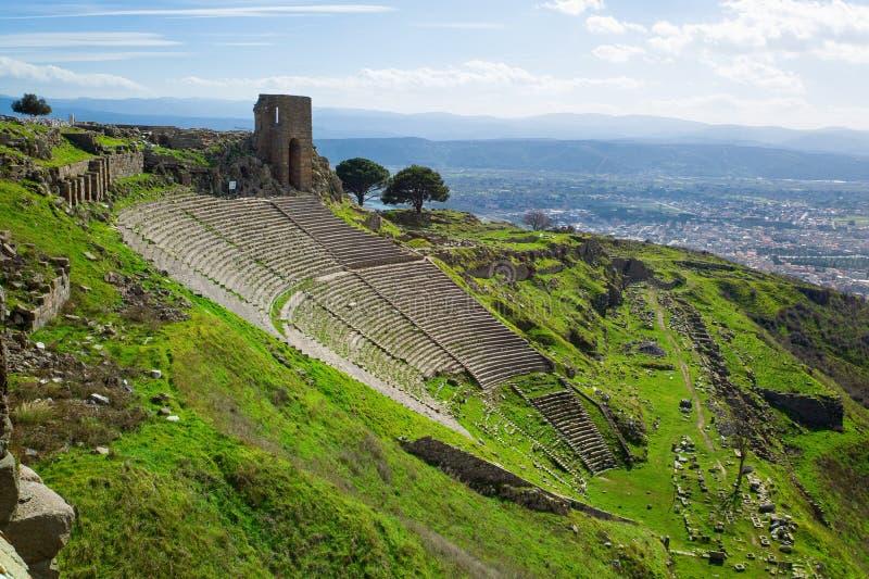 Amfitheater Pergamon stock foto's