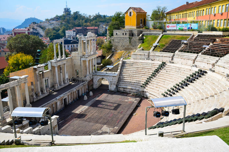 Amfitheater Plovdiv, Bulgarije stock foto