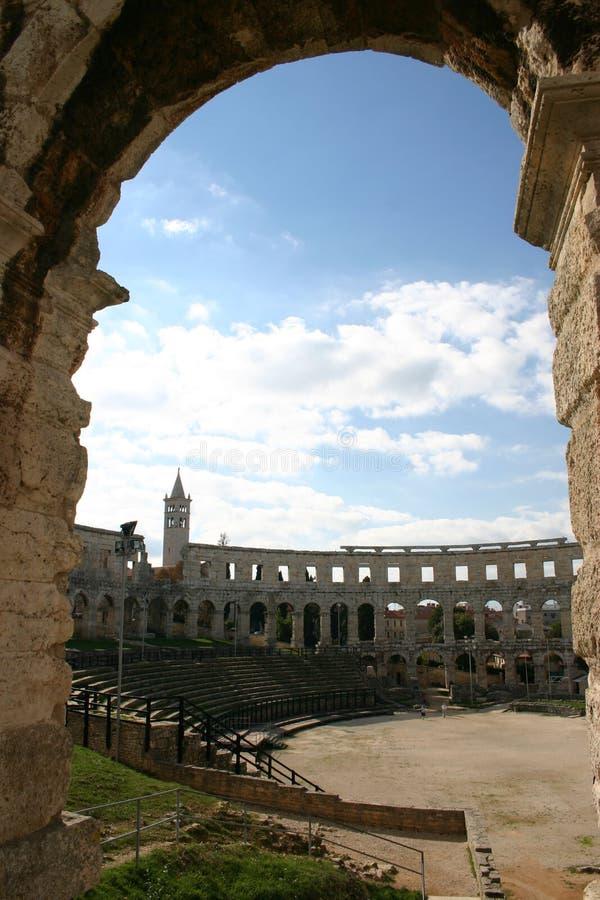 Amfitheater in pula (Kroatië) stock foto