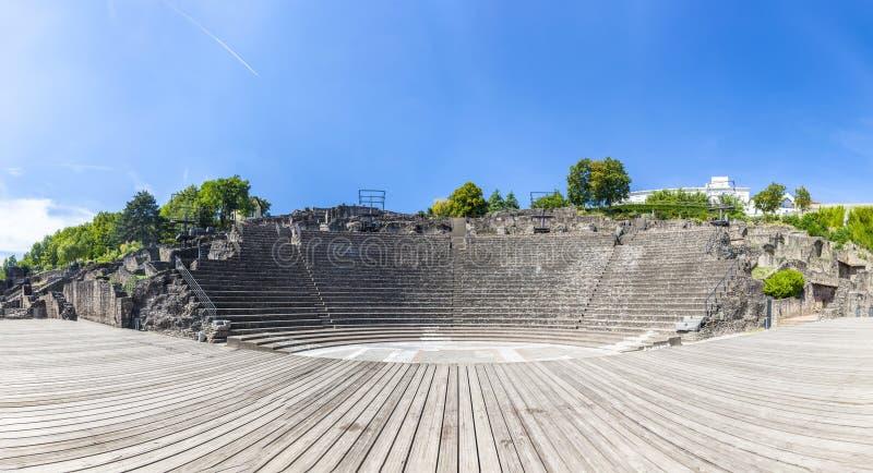 Amfitheater van Drie Gauls in Fourviere boven Lyon Frankrijk royalty-vrije stock foto's