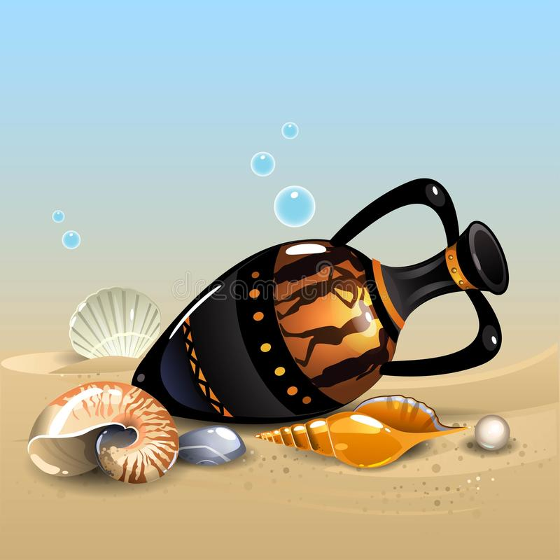 Amfora en shells royalty-vrije illustratie