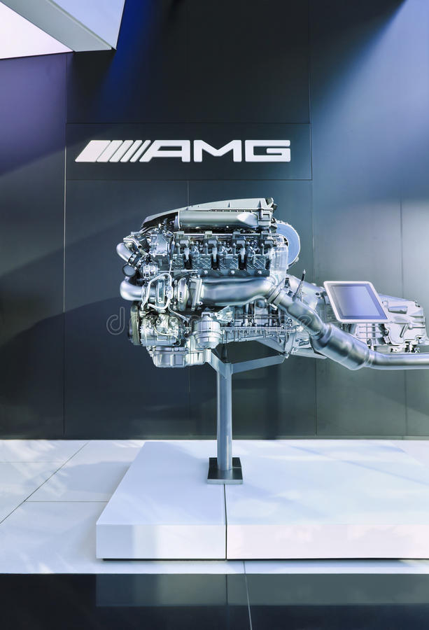 AMG V8 6.3 engine displayed in a AMG outlet, Beijing, China stock photos