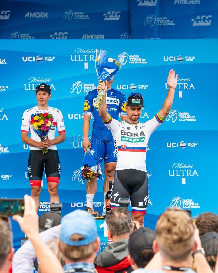 Amgen Tour of California 2019.Stage 4 finish line in Morro Bay. Winners: Fabio Jakobsen, Jasper Philipsen, Peter Sagan stock photo