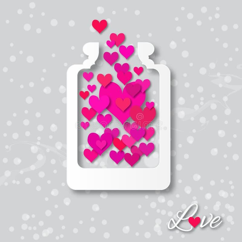 Ami il barattolo della bottiglia con i cuori dentro per il giorno di biglietti di S. Valentino illustrazione di stock