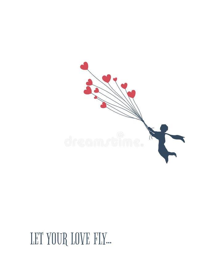 Ami il concetto per il giorno del ` s del biglietto di S. Valentino, volo del ragazzino con i palloni di forma del cuore illustrazione vettoriale