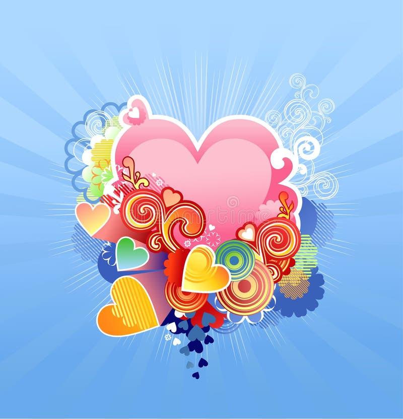 Ami il cuore/biglietto di S. Valentino o la cerimonia nuziale/vettore illustrazione vettoriale