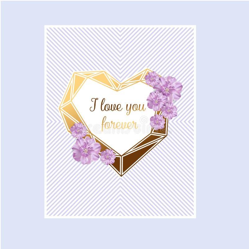 Ami il fondo dell'estratto del giorno del ` s del biglietto di S. Valentino della carta dell'invito con amore del testo e giovane illustrazione di stock