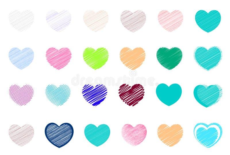 Ami il fondo ed ami le icone per gli amanti ed il biglietto di S. Valentino Particolarmente per la carta del biglietto di S. Vale royalty illustrazione gratis