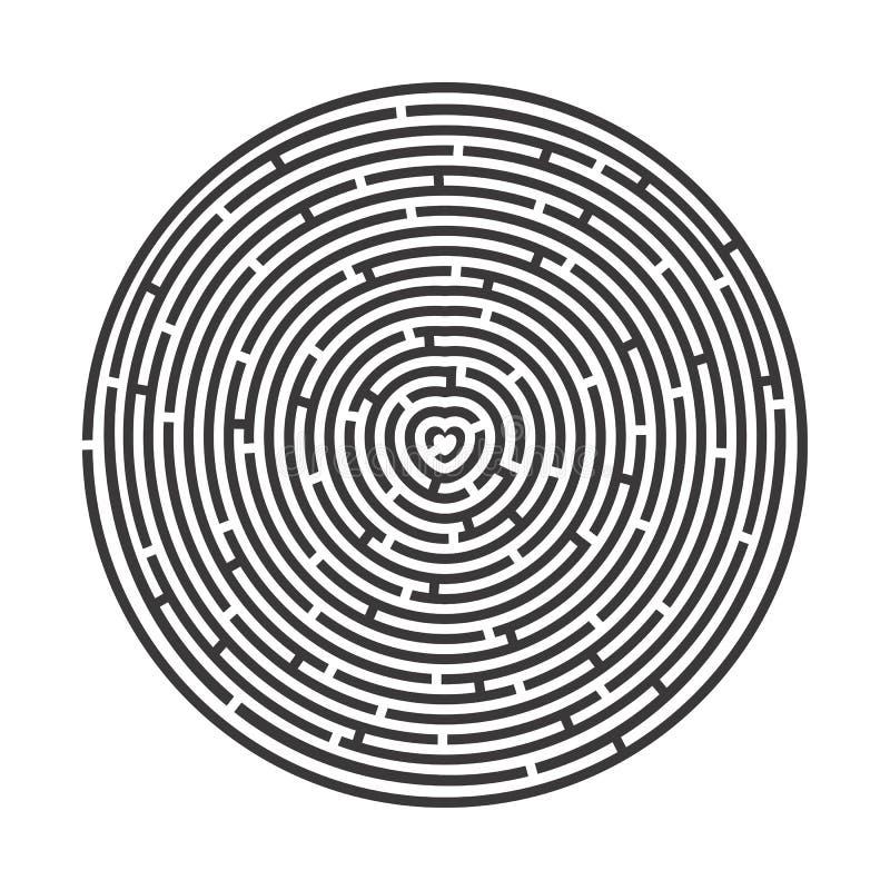 Ami il labirinto radiale con un cuore nel Grey del centro illustrazione di stock