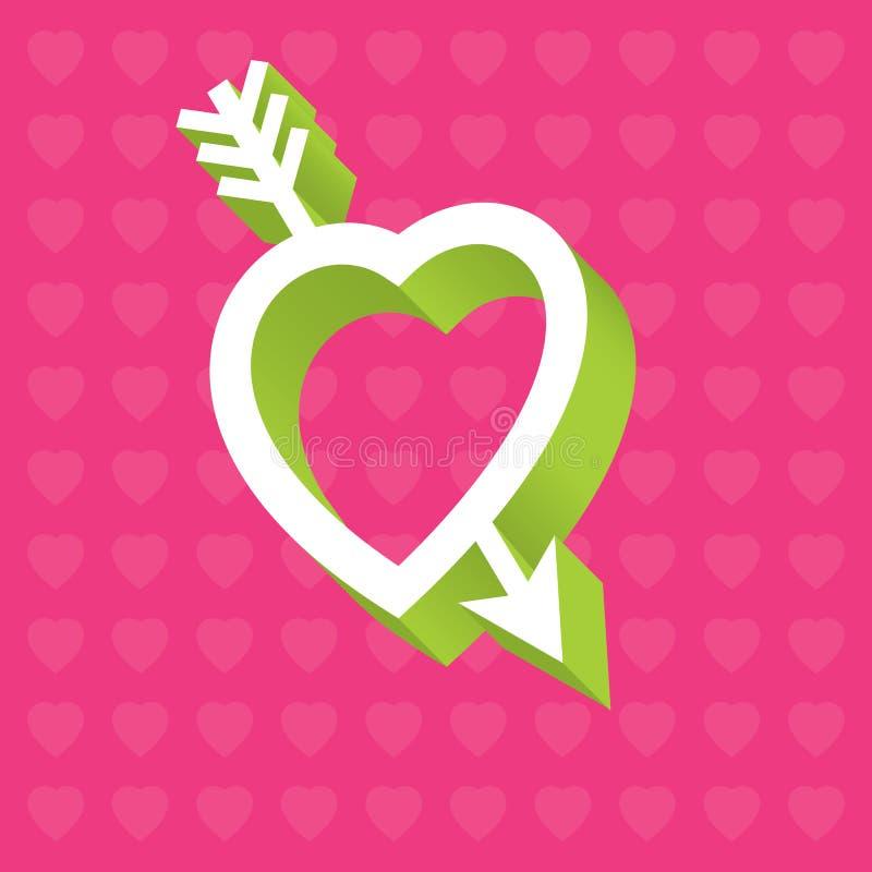 Ami l'illustrazione del cuore 3D con la freccia attraverso cuore fotografie stock