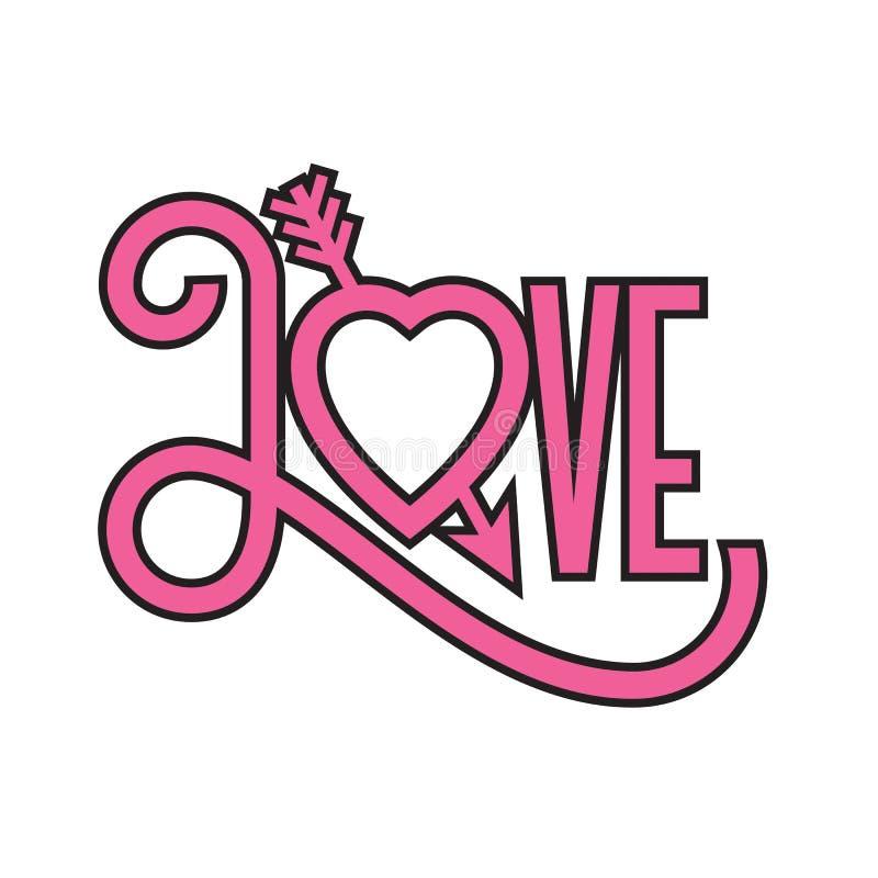 Ami l'illustrazione tipografica di progettazione piana con la freccia attraverso cuore fotografie stock libere da diritti