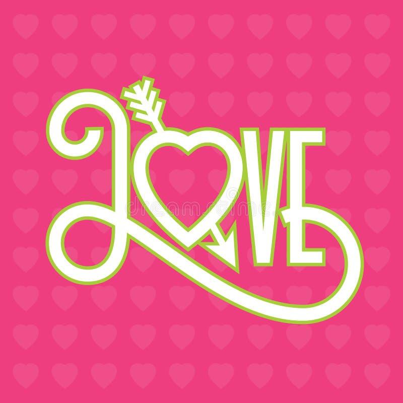 Ami l'illustrazione tipografica di progettazione piana con la freccia attraverso cuore immagine stock libera da diritti