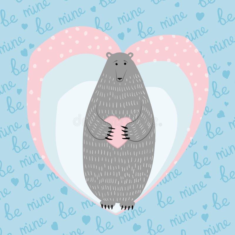 Ami la cartolina d'auguri con l'orso sveglio per il giorno di biglietti di S. Valentino Illustrazione di vettore illustrazione di stock