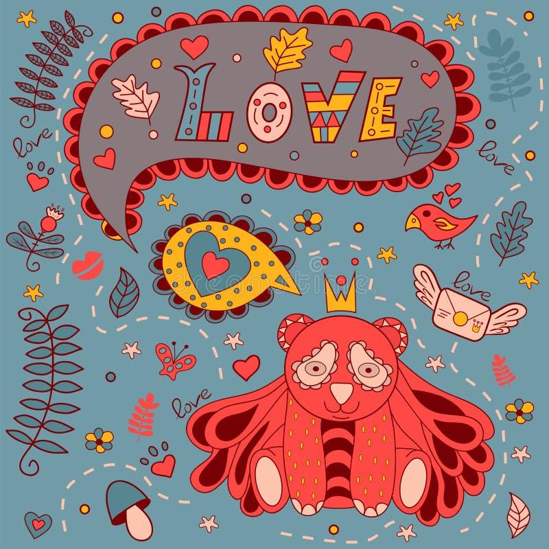 Ami la struttura floreale, scarabocchio di vettore Cartolina d'auguri illustrazione vettoriale
