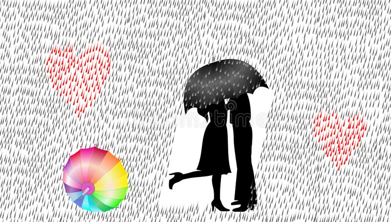 Ami le coppie nella pioggia, l'illustrazione di vettore, concetto di amore