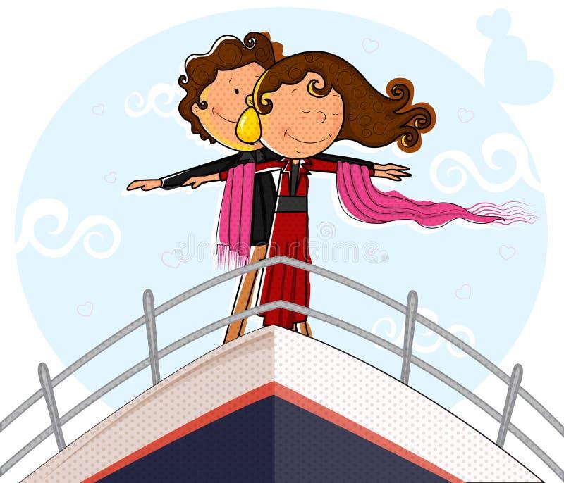 Ami le coppie sulla piattaforma della nave nella posa romantica royalty illustrazione gratis