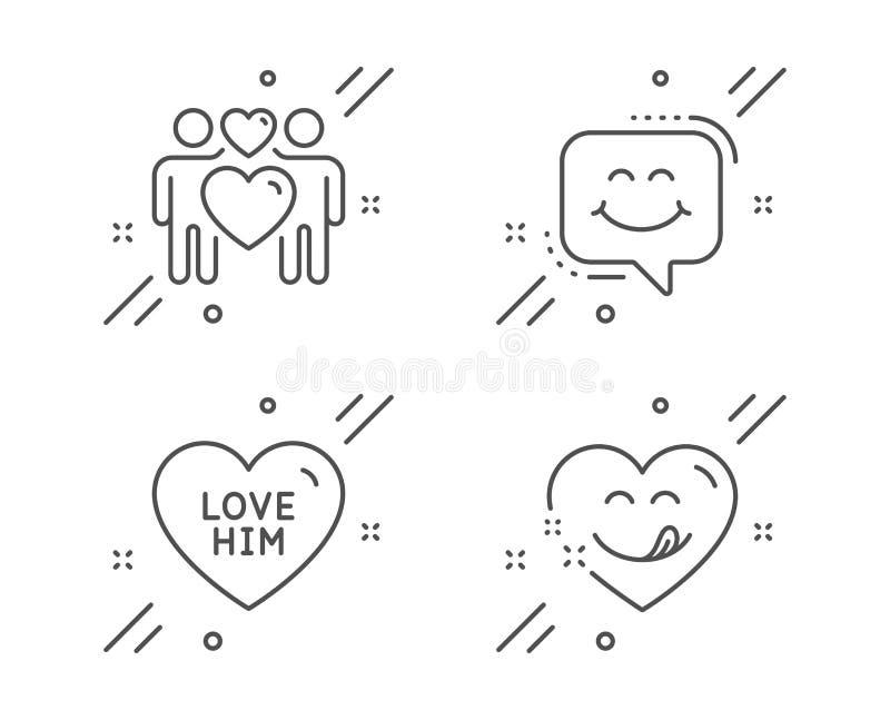 Ami lui, le coppie di amore ed insieme delle icone di chiacchierata di sorriso Segno squisito di sorriso Innamorato, amanti, fron royalty illustrazione gratis